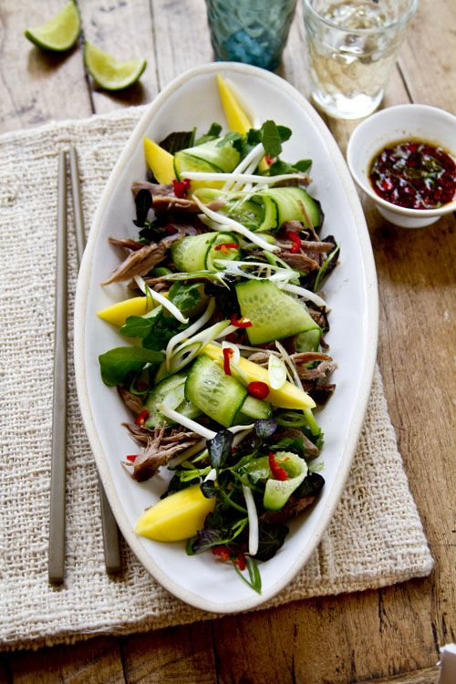 Duck salad with mango and chilli soy dressing