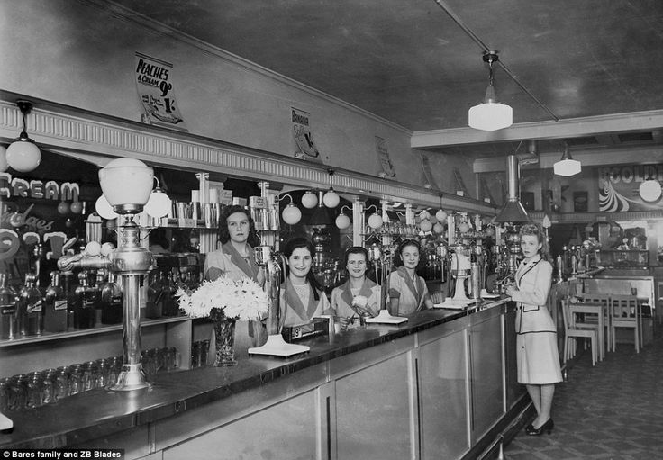 The Greek Australian milk bar was soon exported to England and South Africa and to New Zealand where the Golden Gate Milk Bar (pictured, in Wellington in 1938) was opened by Peter Bares in the city's central business district