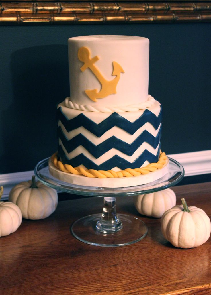 Nautical Navy and Gold Chevron Cake -- SomersetCakes.com