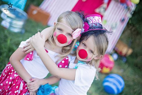 "sister and clown noses! cute! Circus themed mini session. Image from ""Come Join Our Circus"" mini sessions with Absolutely Epic Photography"