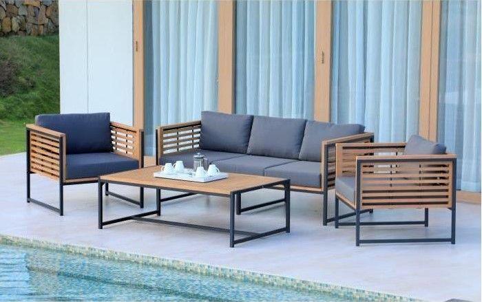 CAYO Salon de jardin 5 places en eucalyptus FSC et aluminium - Cdiscount