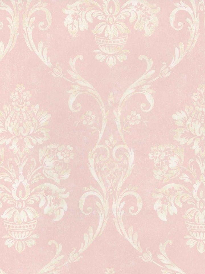 Interior place soft pink floral damask wallpaper for Damask wallpaper