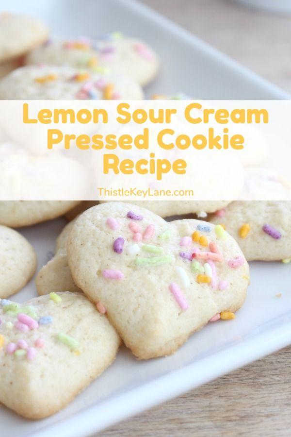 Lemon Sour Cream Pressed Cookie Recipe In 2020 Cookie Recipes Lemon Squares Recipe Dessert Recipes