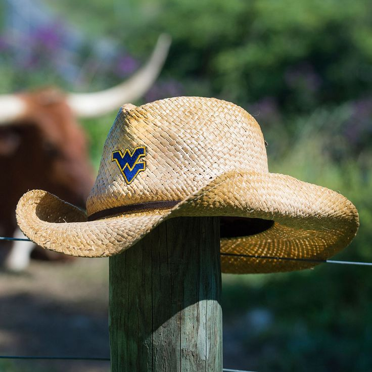 LogoFit Wrangler straw hat. Available at the WVU Bookstore and The Book Exchange.