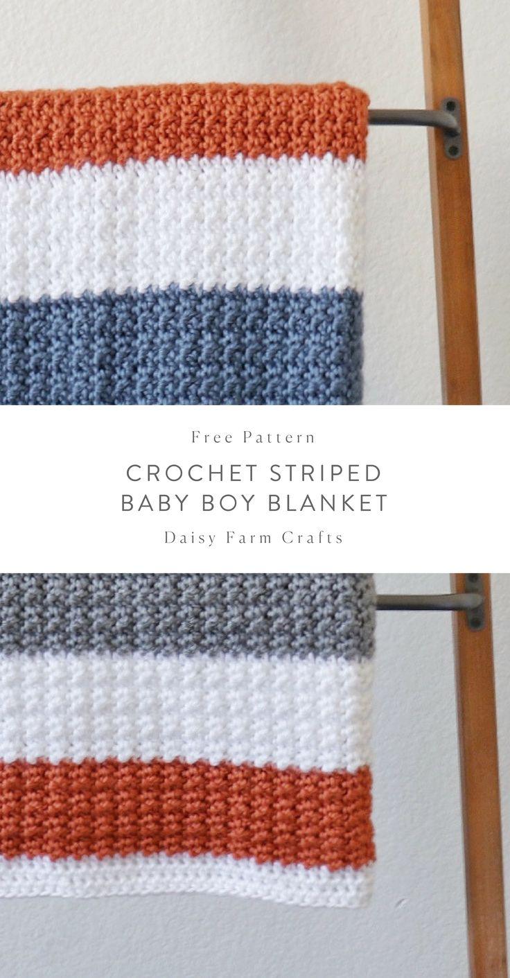 Kostenlose Anleitung – Gestreifte Babydecke häkeln   – Crochet blankets / rugs