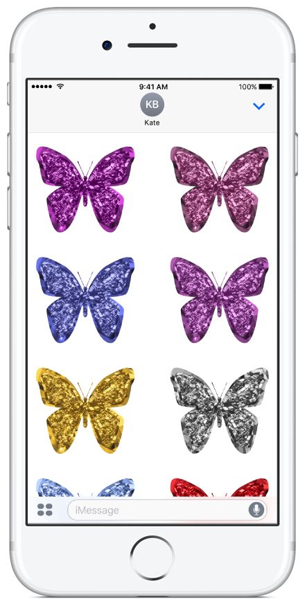 Glitter Butterflies sticker pack available on the App Store.