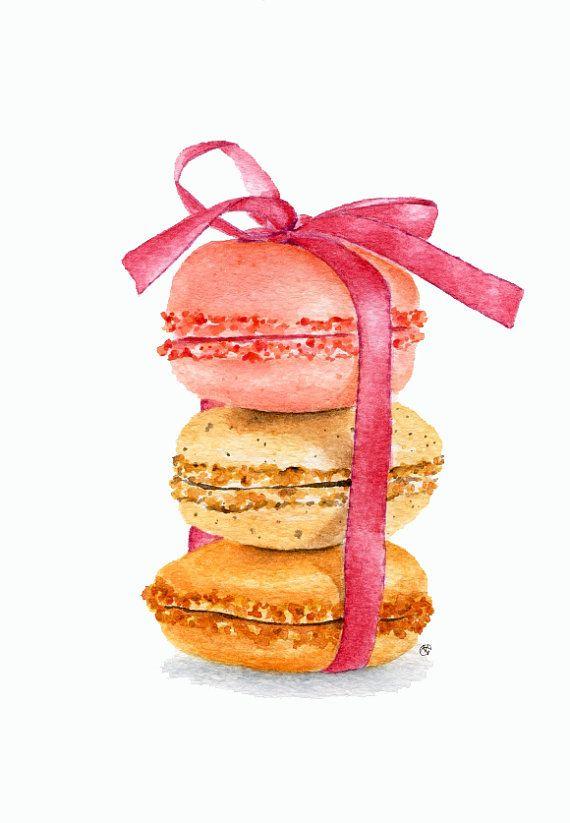 ORIGINAL Painting  Macarons Sweet Food by ForestSpiritArt on Etsy