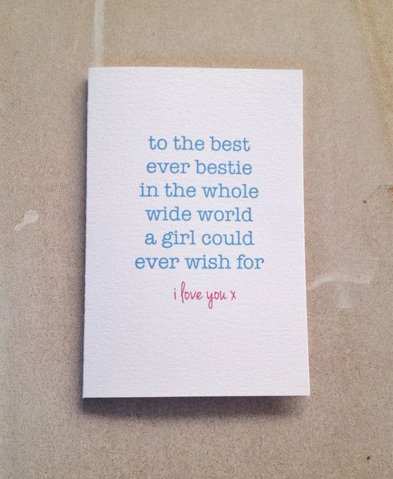 Friendship Quotes For Card Making Items similar to best friend