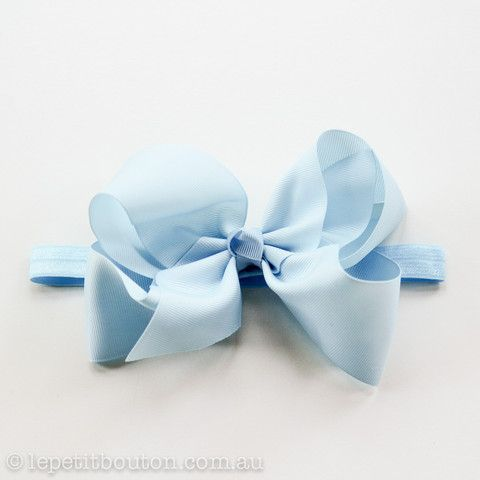 "Large Bow ""Chloe"" Light Blue – Le Petit Bouton"