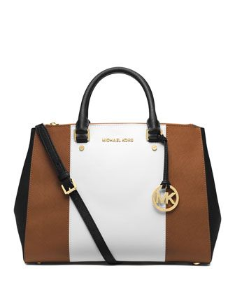 MICHAEL Michael Kors Large Jet Set Center-Stripe Travel Tote.
