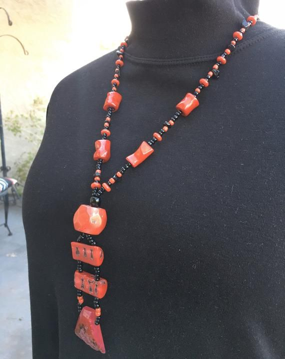 Mens Beaded Necklace Black Lava Stone Red Coral Hematite Necklace for Men Beaded Necklace Mens Beaded Jewelry Natural Stone Necklace