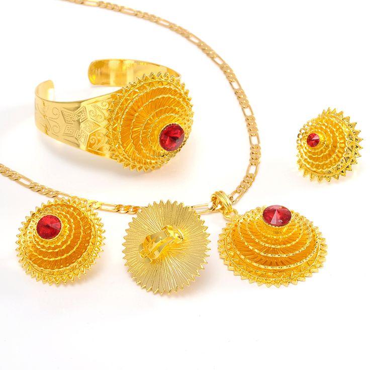 Bangrui Top brand romantical Yellow Color Ethiopian color stone sets for African /Ethiopian /Eritrean women jewelry sets