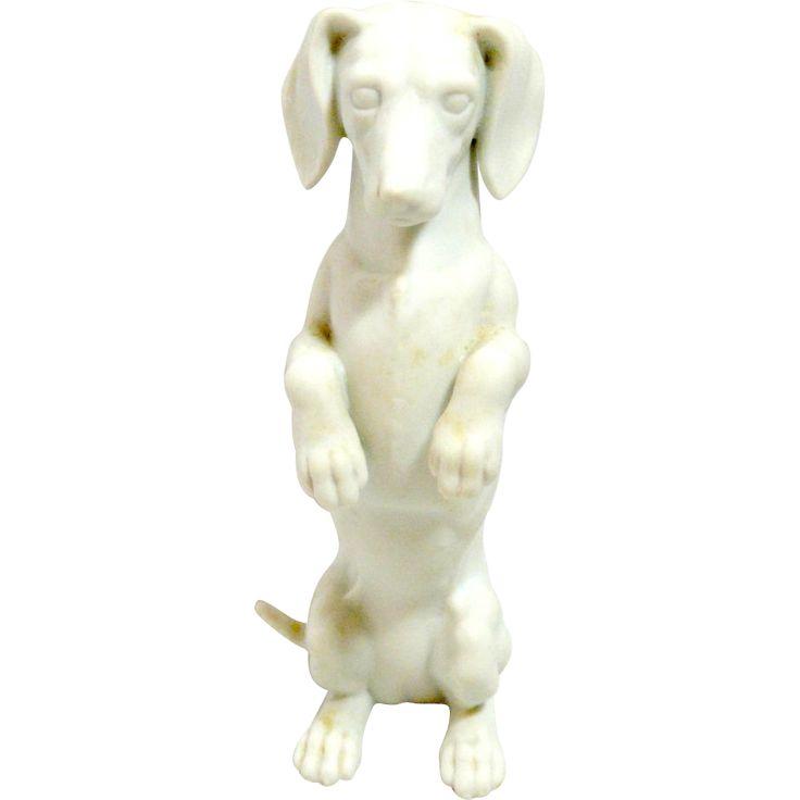Vintage White Porcelain Bisque Short-Haired Dachshund Dog Germany