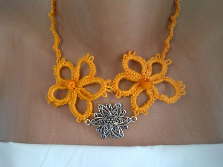 tatted necklace, orange by SperoDesignsRomania on Etsy