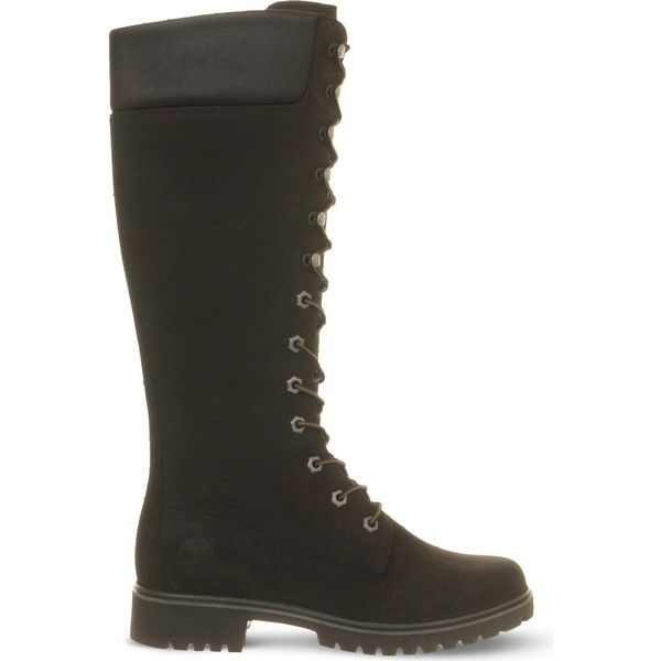 Timberland 14-inch lace-up leather boots ($180) ❤ liked on Polyvore featuring shoes, boots, knee high leather boots, long boots, long lace up boots, leather boots and timberland boots