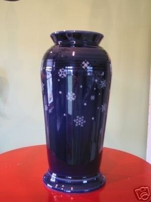 Cobalt Fiesta® Snowflake Monarch Vase made exclusively for Betty Crocker by Homer Laughlin China Company | WorthPoint