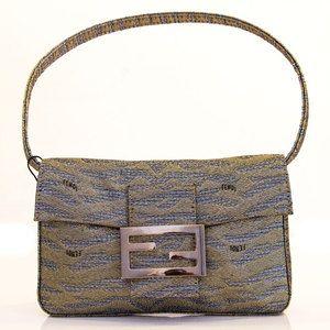 Fendi Baguette Gold / Silver Metallic Fabric Pochette. Evening handbag