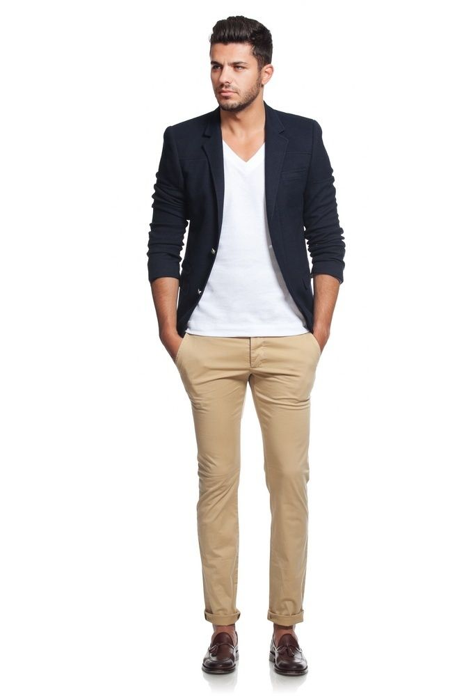 Men 39 s black blazer white v neck t shirt khaki chinos for Mens shirt with tassels