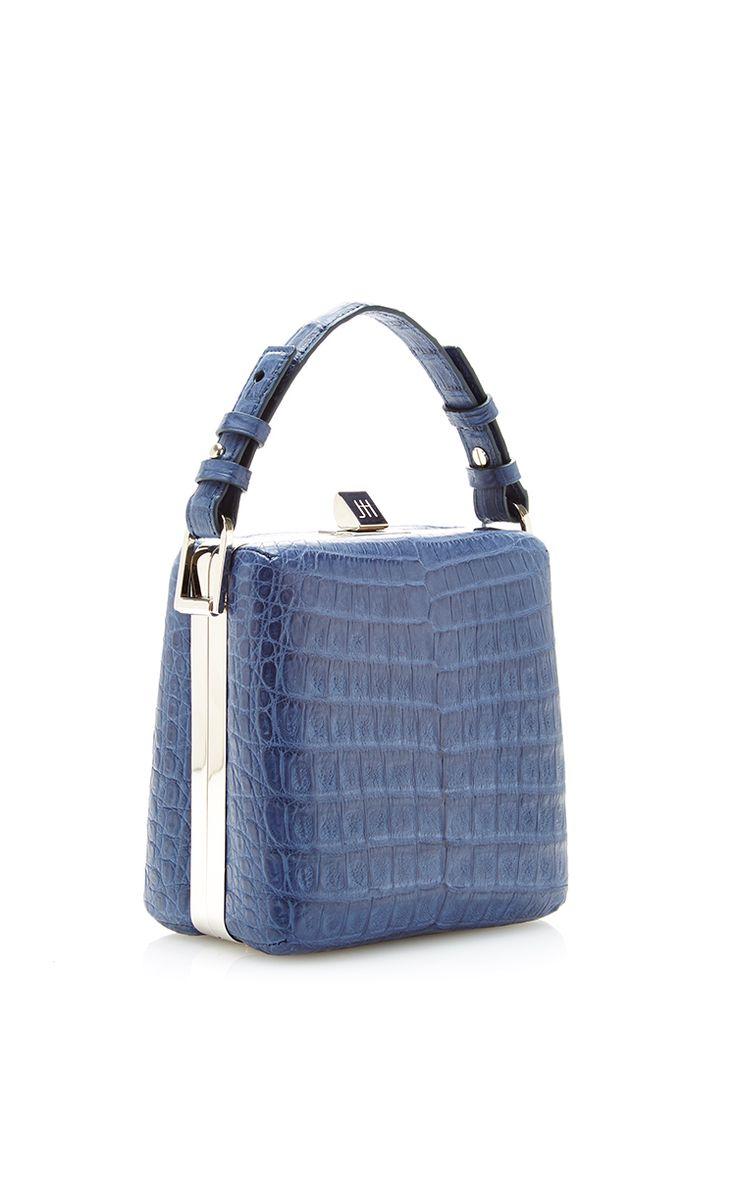 Jill Haber Charles Blue Caiman Crocodile Classic Box Bag by Jill Haber for Preorder on Moda Operandi