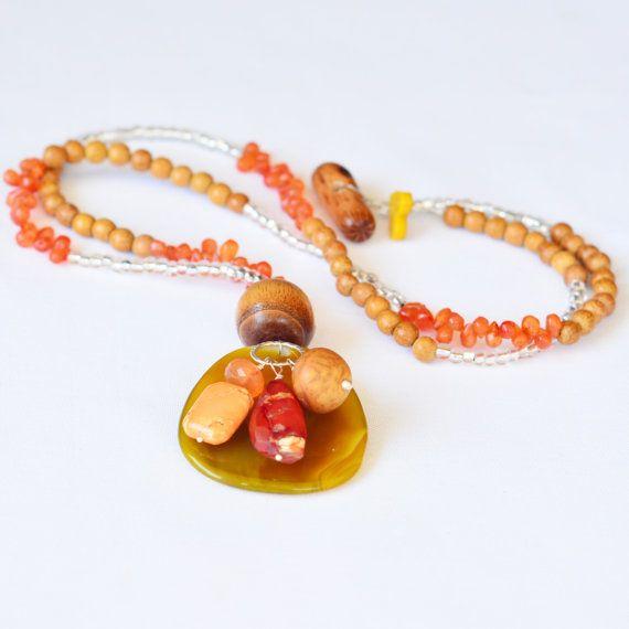 One Strand  Citrus Confetti Necklace  Handmade by skyepiece