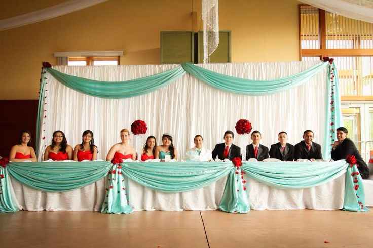 My daughters Quinceanera head table. | Tiffany blue and ...
