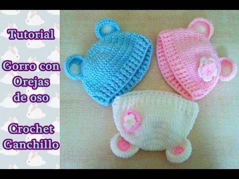 ▶ DIY Como hacer un gorro crochet ganchillo bebe con orejas de oso | English Subs Baby's hat - YouTube