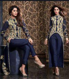 Buy Blue embroidered Georgette semi stitched salwar with dupatta wedding-salwar-kameez online