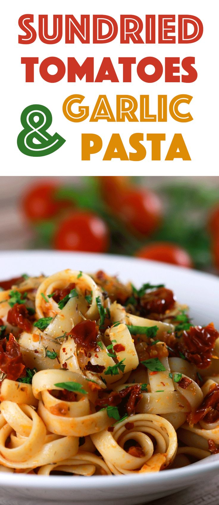 This pasta recipe is PERFECT for mid-week lazy days and tastes spectacular!! And learn how to make delicious sundried tomatoes yourself while you're at it! YUM!! | ScrambledChefs.com