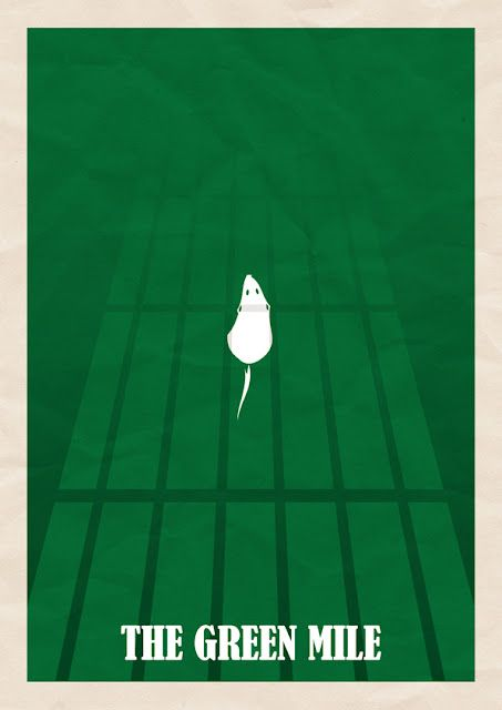"Minimal film poster for the green mile. Green mile is a film about guards of death row that discover an inmate with a mysterious gift. I think the main colour here is green because (apart from the obvious title ""the green mile"") Green is seen a lucky colour so I think they have used that here to show the luck and the fate of the inmate. green is also a symbolising colour of hope and new beginnings which I think they want to portray in the poster"
