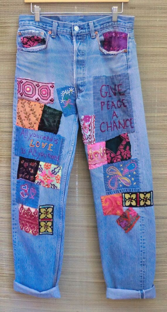 Hippie Jeans  Vintage Upcycled Patched Levis 501 by BabylonSisters, $225.00. I need to do this to my jeans!