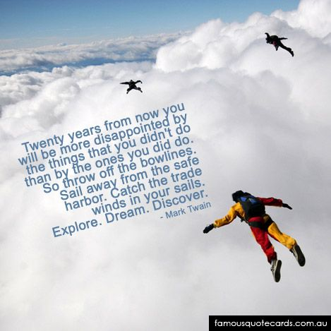 Famous Quote Cards | quote by Mark Twain - Skydive Quote Card