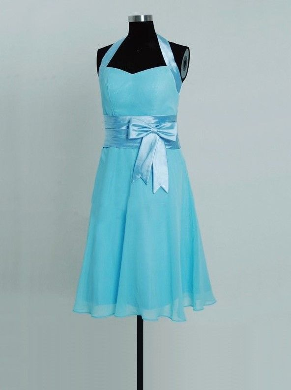 cheap tiffany blue halter tea length bridesmaid dress with bow | Cheap bridesmaid dresses Sale