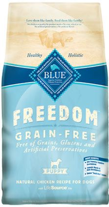 Blue Freedom — Grain Free Puppy Food. High fat content, great taste, a good grain-free commercial dog food.