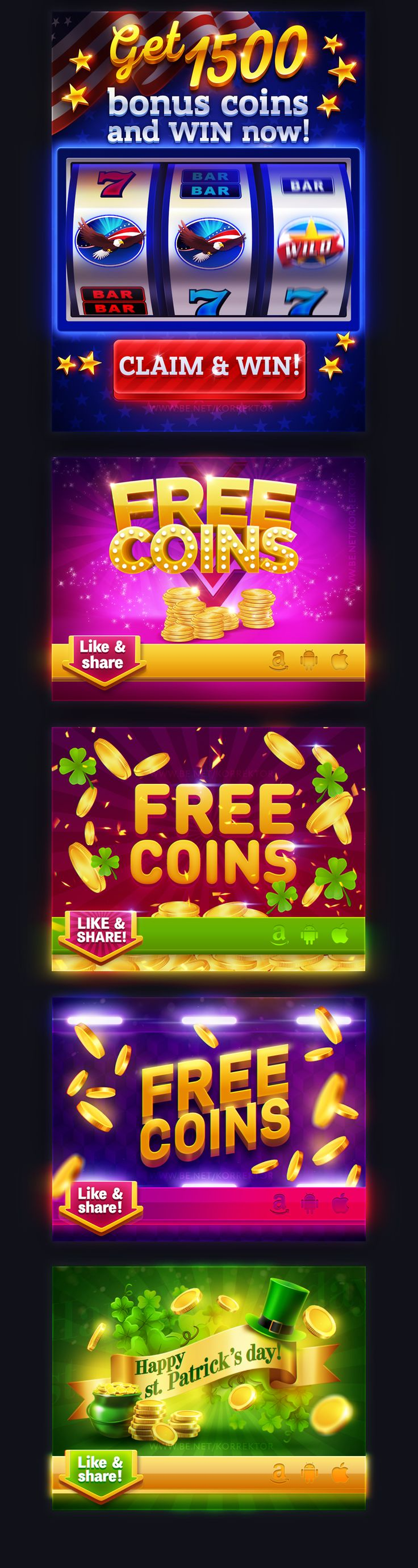 Juicy slots banners collection on Behance