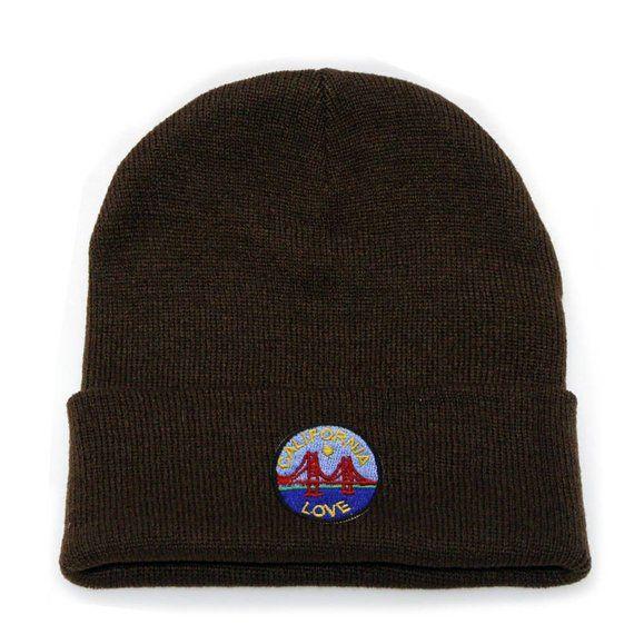 9f45a80d656 Capsule Design California Love Patch Ski Winter Beanie Hats Brown ...
