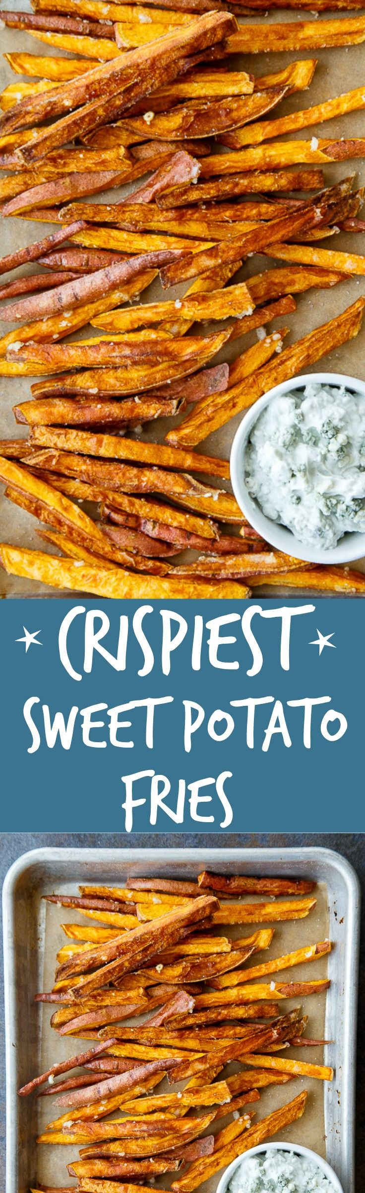 One secret tip to the CRISPIEST sweet potato fries. And you already have it in your pantry, I promise! Bleu cheese dipping sauce recipe included.