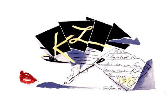 invitation pour Karl Lagerfeld, 1983 http://www.vogue.fr/culture/a-voir/diaporama/les-mondes-merveilleux-d-antonio-lopez/9576/image/570137#invitation-pour-karl-lagerfeld-1983