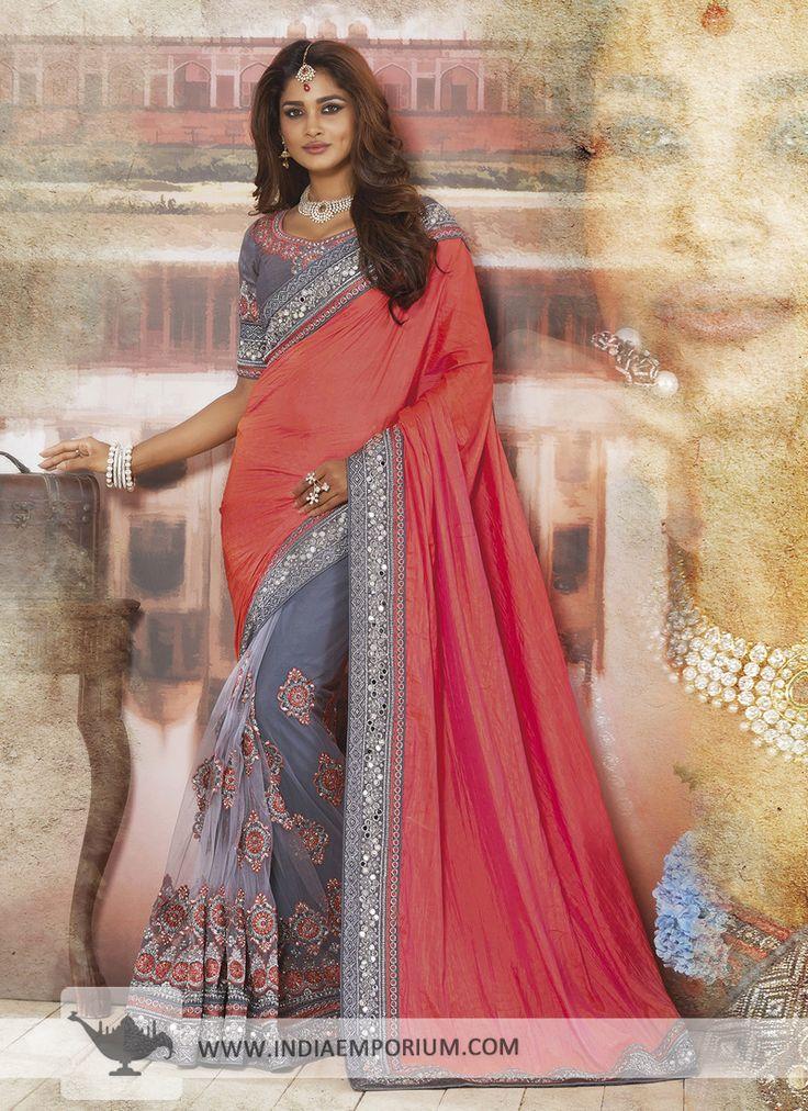 Gray & Orange Crush Silk Net Saree