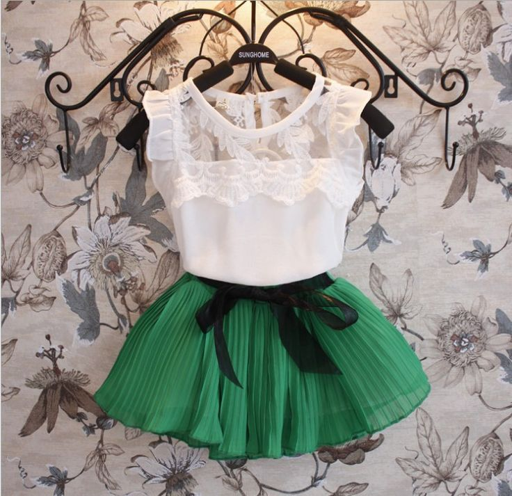 2015 New Girls Clothing Sets Dress Short T shirt 2 Pcs Set Summer Kids Clothes Fashion Girls Clothes Knitted Children Clothing