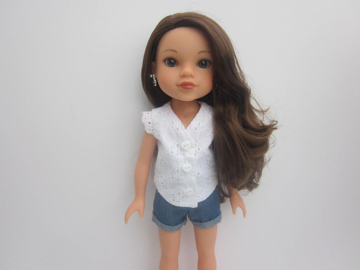 "White eyelet top and blue chambray cuffed shorts for 14"" doll such as Wellie Wishers and Hearts for Hearts by HannahsDressUp on Etsy https://www.etsy.com/listing/501747042/white-eyelet-top-and-blue-chambray"