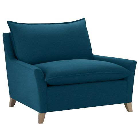 I LOVE this chair $599.00 from @West Elm in Performance Velvet Lagoon Blue. So swanky!
