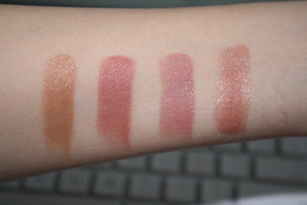 MAC Lipstick Swatches Left to Right: Siss (stain) Brave New Bronze (stain) Blankety (amplified) High Tea (lustre)