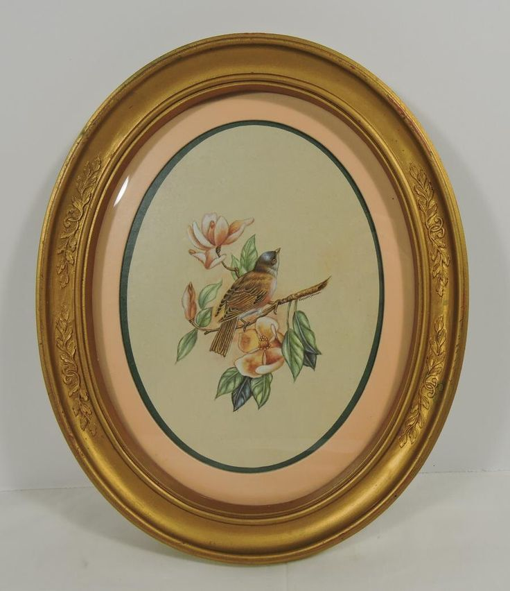 Oval Picture Frame with Mat and Bird Print Vintage by PotpourriWorkshop on Etsy https://www.etsy.com/listing/454089946/oval-picture-frame-with-mat-and-bird