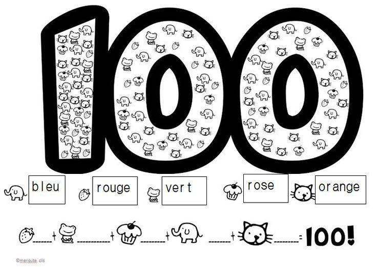 fiche pour le 100ème jour d'école colorie et dénombre 100 objets http://cliscachart.eklablog.com/la-fete-du-100-eme-jour-d-ecole-2014-a107497550