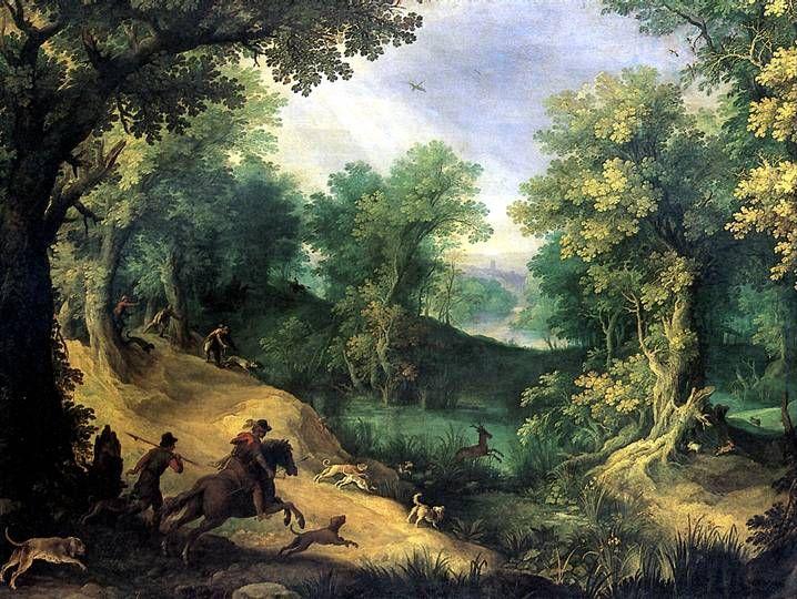 Охота на оленя,Антверпен,ПАУЛЮС БРИЛЬ  (1554-Рим,1626) Холст, 105х137 см.В колл. Людовика XIV пост.до 1683 г.