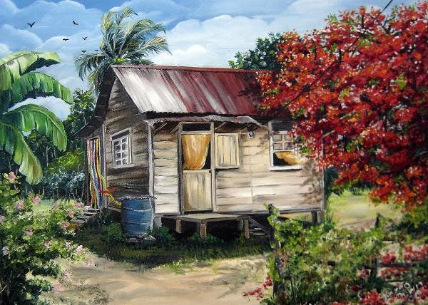 Old Wood House Paintings Flamboyant Tree Caribbean Painting By Karin Dawn Kelshall Best