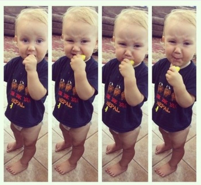 Marcus eating a lemon! #hisface #19Kids