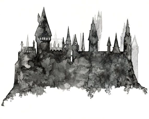 Hogwarts Silhouette Painting  Print from by TheColorfulCatStudio