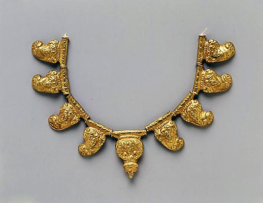 Necklace with Stylized Tiger Claws  Period: late Central Javanese period Date: 8th–early 10th century Culture: Indonesia (Java) Medium: Gold