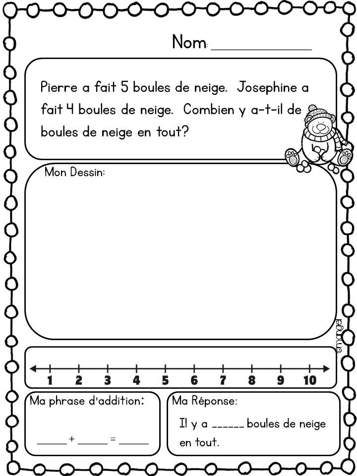 $ Addition and Subtraction Math Printables in French! Winter themed.